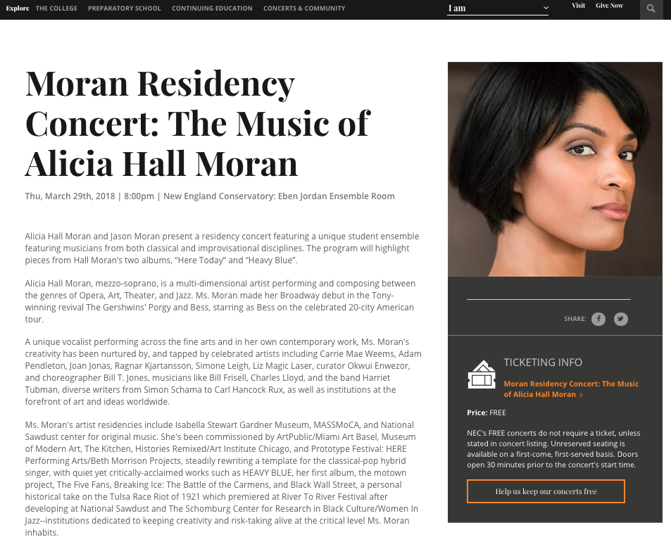 The Music of Alicia Hall Moran, in Residence at New England Conservatory